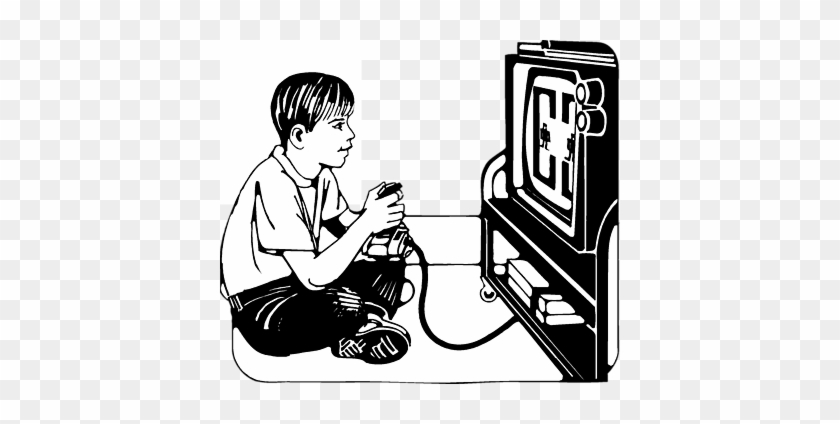 Vector Video Editing Icon - Playing Computer Games Black And White #297634
