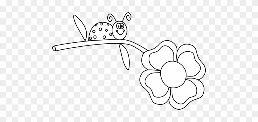 White Flower Clipart Cute Ladybug - Ladybug On Flower Pictures Clipart #298101