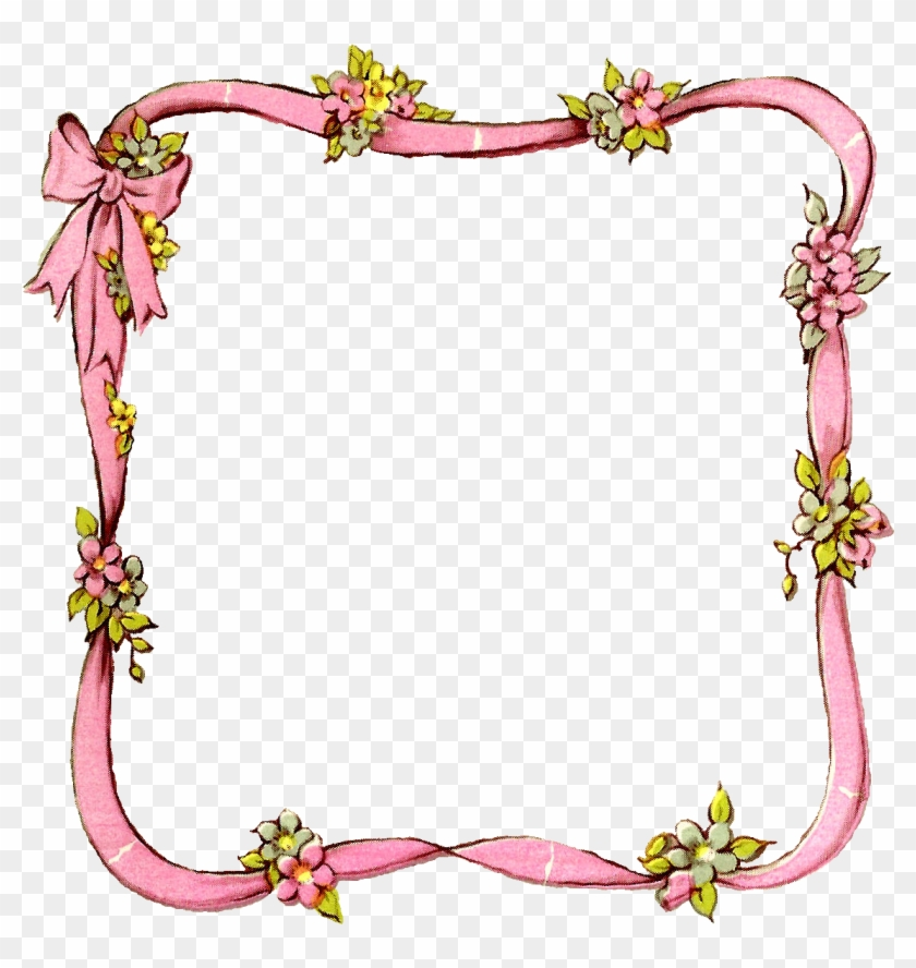 Frame Ribbon Digital Image Flower Crafting Download - Best Borders For School Projects #298888