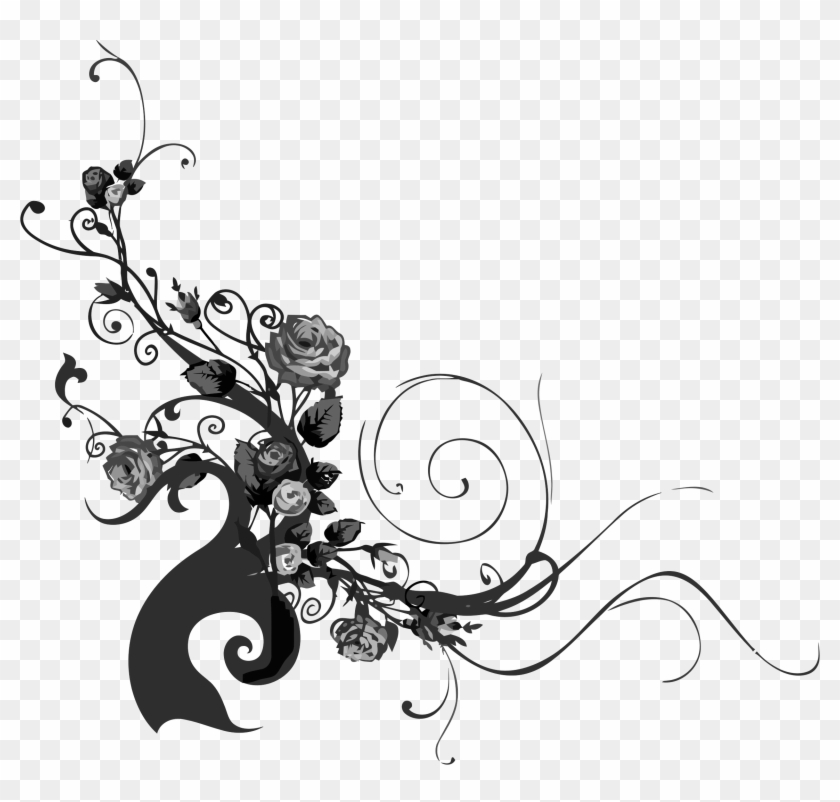 Big Image - Rose With Vines Silhouette Png #299110