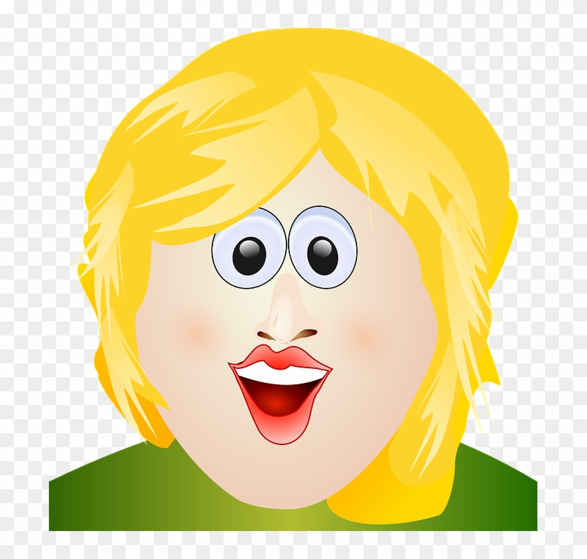 Short Hair Clipart Mom Face Ugly Blonde Cartoon Girl Free