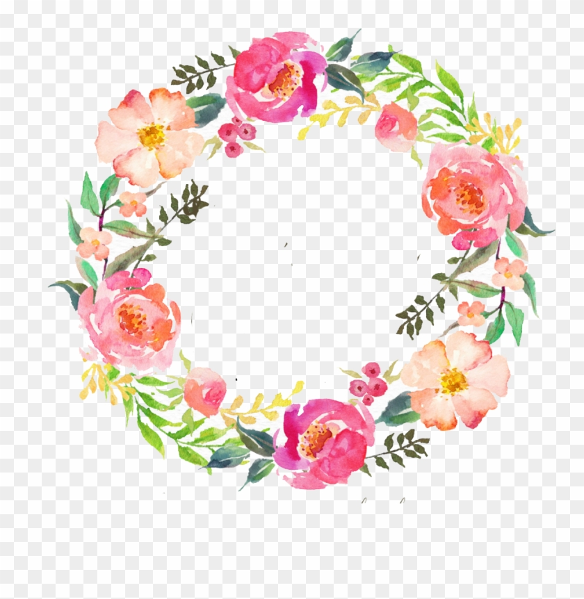 Watercolour Flowers Wreath Watercolor Painting Garland - Water Color Flowers Wreath #299442