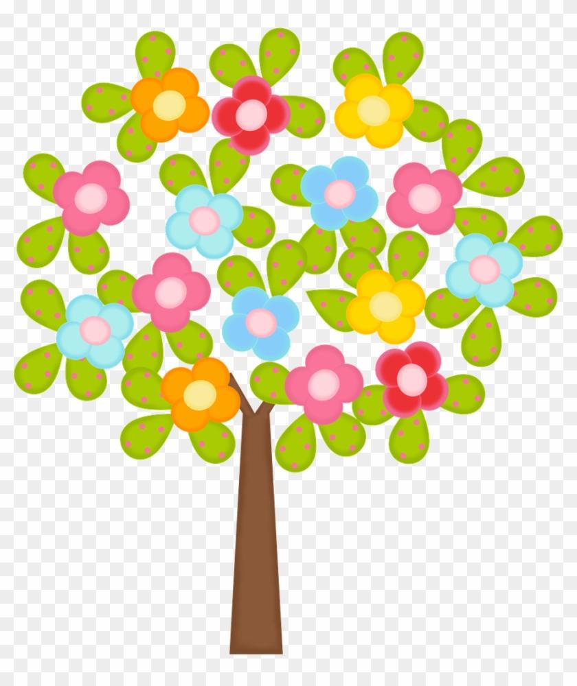 Flower Treefelt Flowersstencilsclip Arttree - Trees And Flowers Clipart #299514
