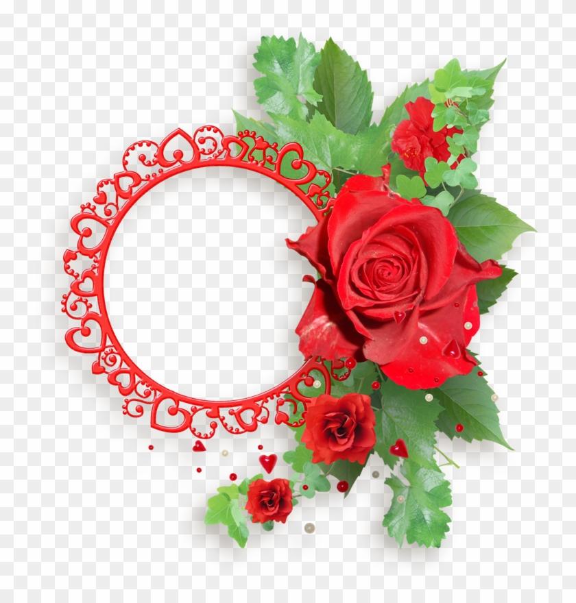Red Roses Frames - Flowers Monogram Frame Tote Bag, Adult Unisex, Natural #299577