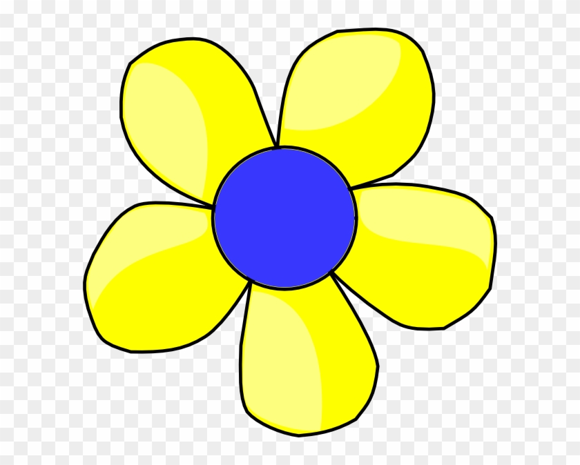 Blue And Yellow Flower Shaded Clip Art At Clker - Yellow And Blue Cartoon Flower #300256