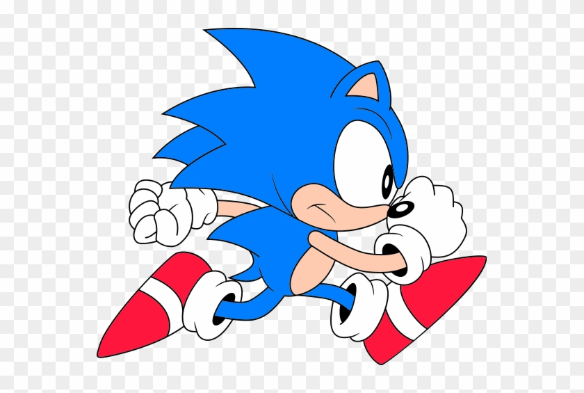 561px Classic Sonic Run Classic Sonic The Hedgehog Running Free Transparent Png Clipart Images Download