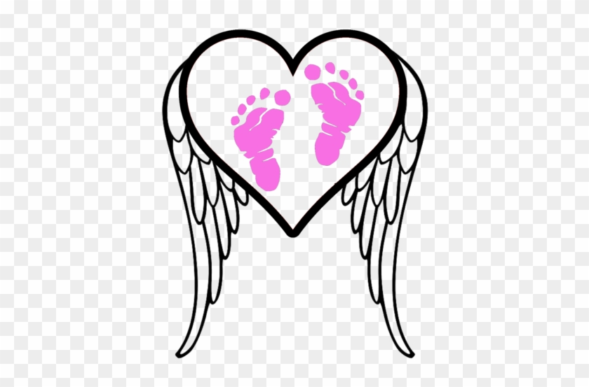 Pregnancy And Infant Loss Awareness Footprints - Angel Wings Silhouette #300830