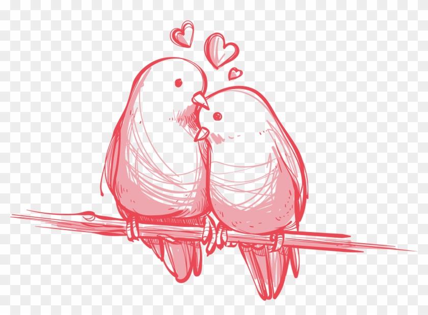 Bird Valentine's Day Wedding Gift Wallpaper - Love Birds