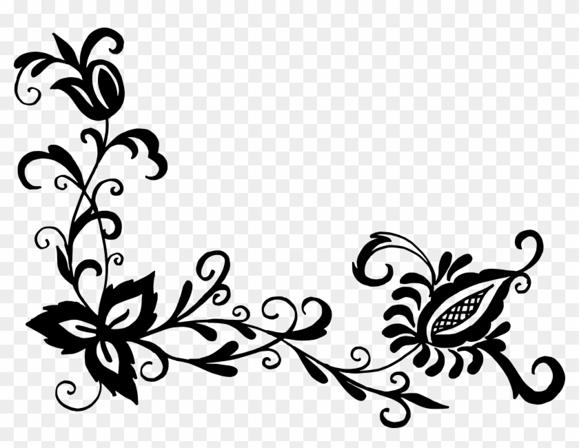 Free Download Corner Design Flower Png Black Free Transparent