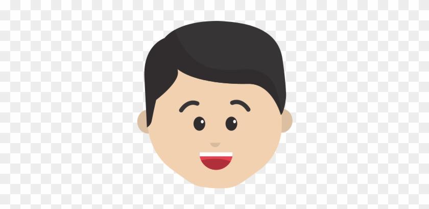 Cartoon Man Face Happy Expression - Vector Graphics #302013