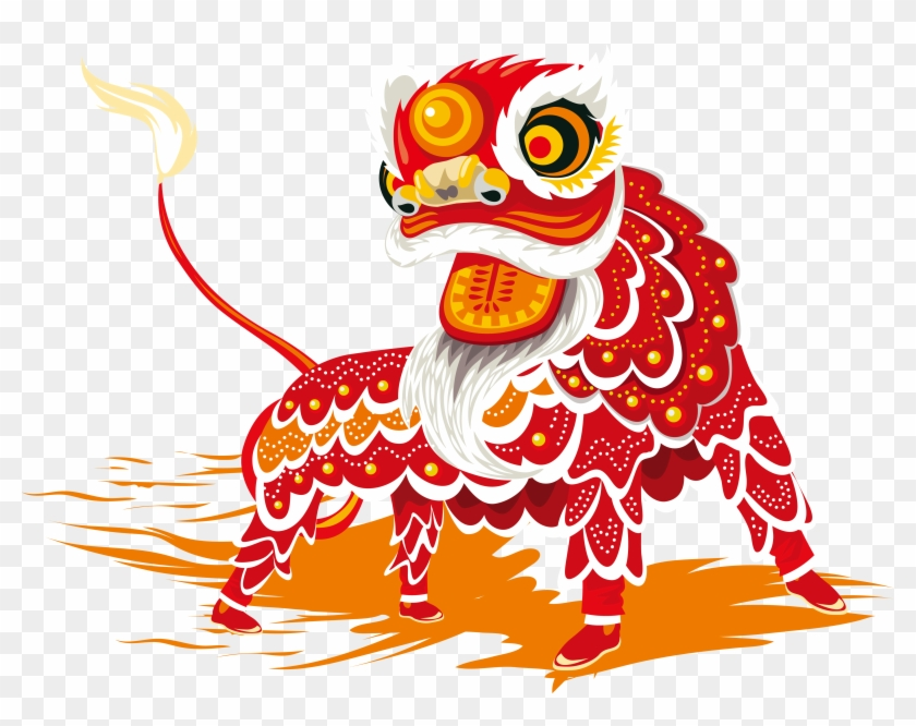 Chinese New Year Lion Dance Dragon Dance - Lion Dance Vector Png #302387
