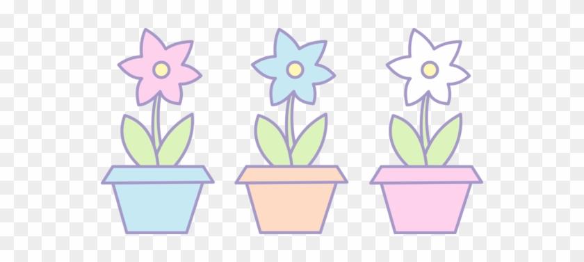 Pot Plant Clipart Three Flower - Cute Flower Pot Clipart #302716