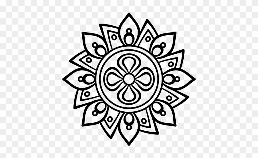Dibujo De Mandala Flor Sencilla Para Colorear - De Flores En ...