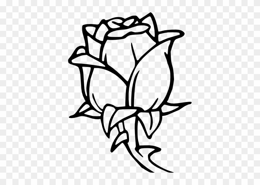 Rose Bud - Flower Coloring Pages - Free Transparent PNG ...