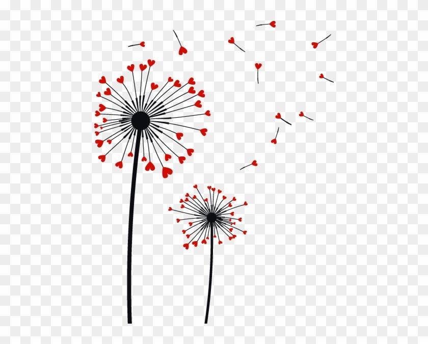 Vinilos Decorativos Flores Diente De León Corazones - Dibujos En Paredes De Flores #303749