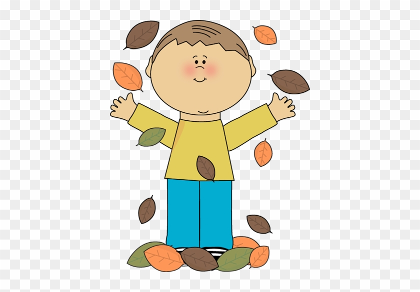 Boy Playing In Leaves Clip Art - My Cute Graphics Autumn #304033