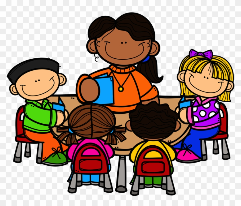 Teacher Reading Table Clipart - Teacher And Students Clipart #304045