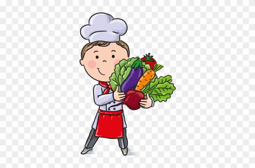 Clipart Sebzeleri Tutan Aşçı Çocuk - Kids Cooking Illustration #304168
