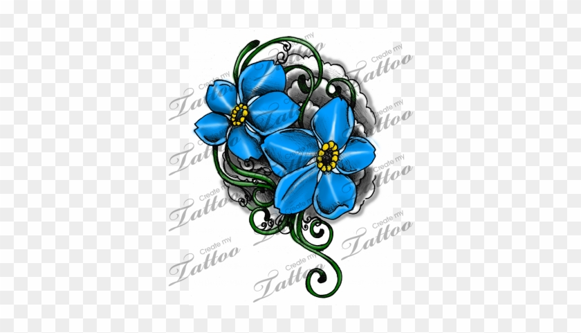 Marketplace Tattoo Forget Me Not Flowers And Vines Forget Me Not