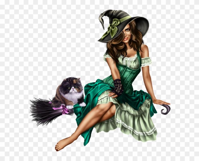 Czarownica I Kot Na Miotle Png Silueta Arbol Halloween Free
