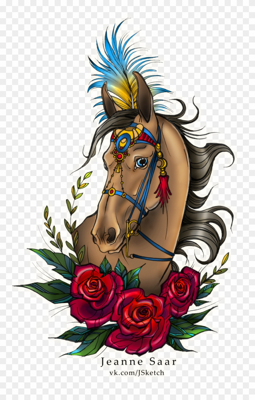 Primitive Art 40 8 Tattoo Sketch - Traditional Style Horse Tattoo #305465