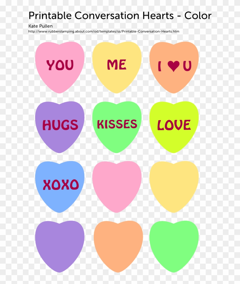 8 images of printable conversation hearts blank