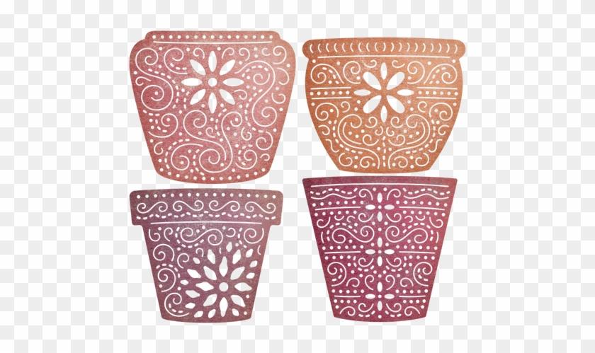 """Cheery Lynn Designs Flower Pots 4 Piece Die Set Cut - Cheery Lynn Designs Die Flower Pots, 1.625""""x1.375"""" #306075"""