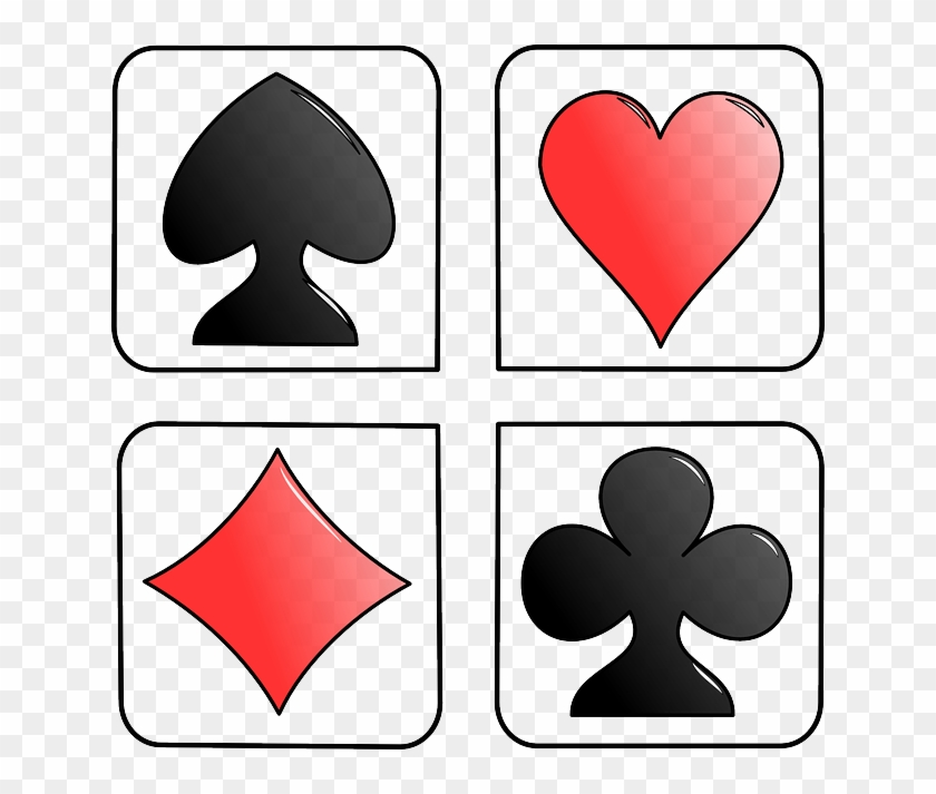 Four Cards, Heart, Symbols, Diamond, Spade, Game, Four - Deck Of Cards Suits #306167