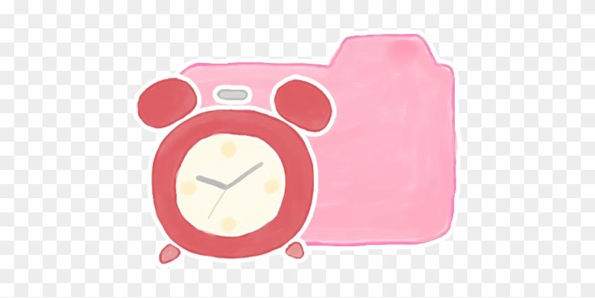 Folder Candy Clock Icon - Pink Alarm Clock Clipart #306179