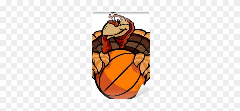 Basketball Happy Thanksgiving Holiday Turkey Cartoon - Happy Thanksgiving Football Turkey Embroidery Design #306551