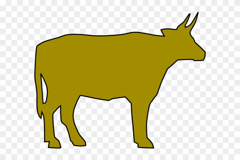 Cow Silhouette 4 Clip Art - Yellow Cow Drawing #306708