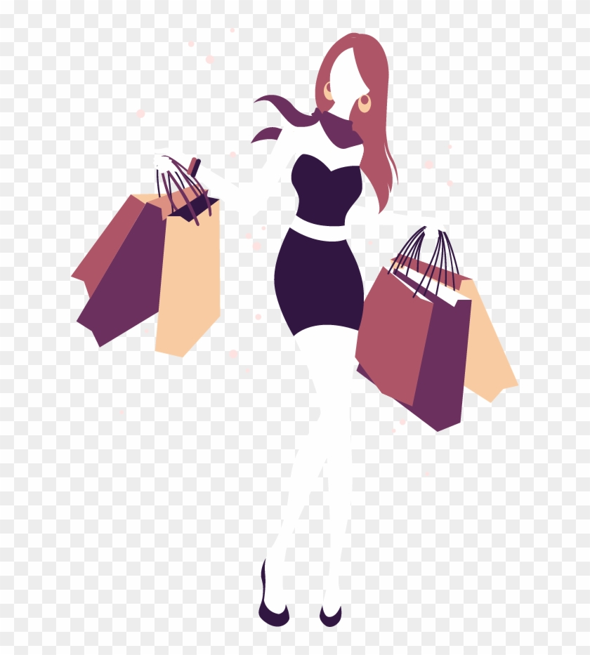 Shopping Girl Illustration - Woman Shopping Silhouette Png #306864