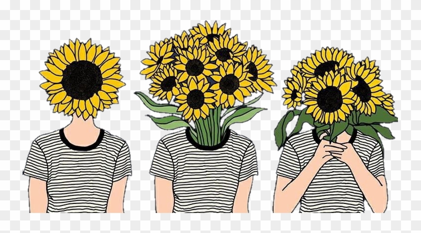 Flowers Girasoles Tumblr Girls Hipster Sunflower Aesthetic Free Transparent Png Clipart Images Download