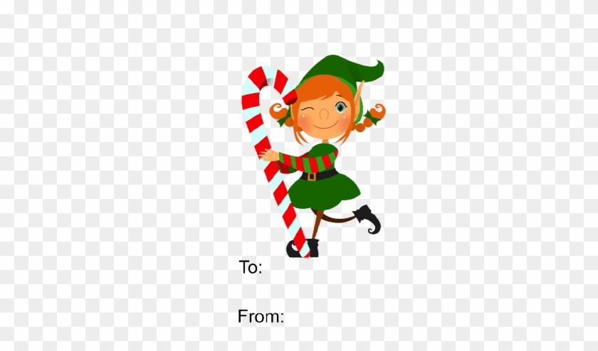 This Gift Tag Features An Elf Carrying A Red And White - Cute Short Christmas Poems #307940