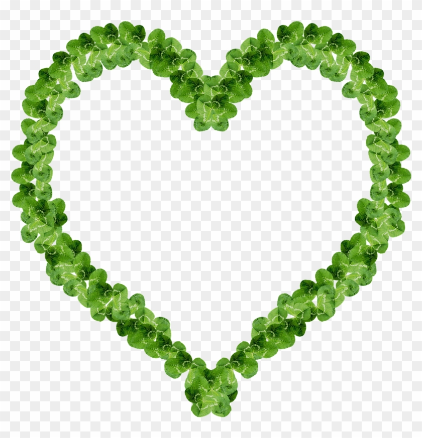 Clover Heart Frame Happiness Png Image - Heart Frame Green #308040