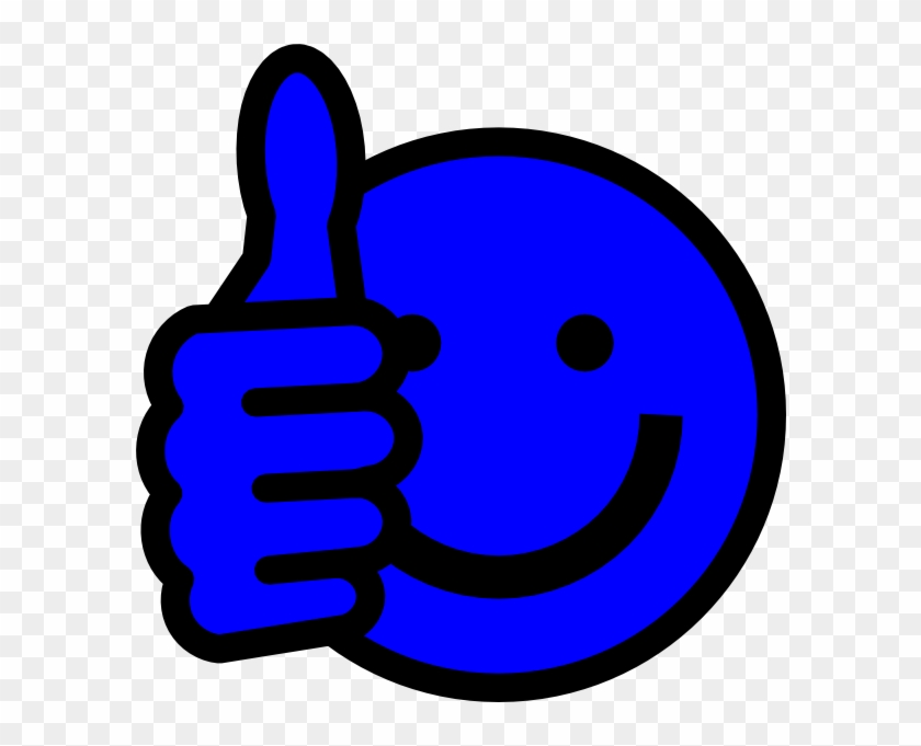 Blue Thumbs Up Svg Clip Arts 594 X 601 Px - Blue Smiley Face Png #54268