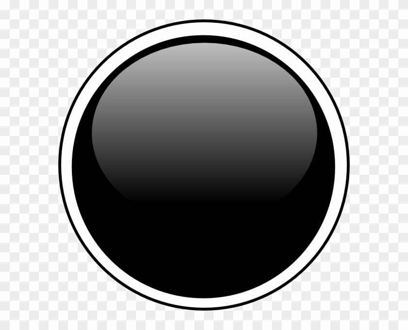 Glossy Black Circle Button Svg Clip Arts 600 X 600 - Black Round Button Png #54273