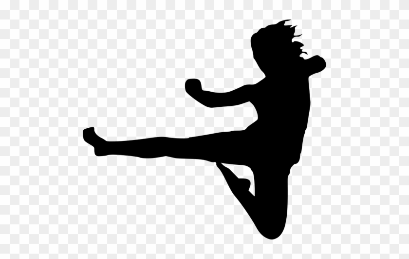 Park Bench Silhouette - Karate Kick #54971