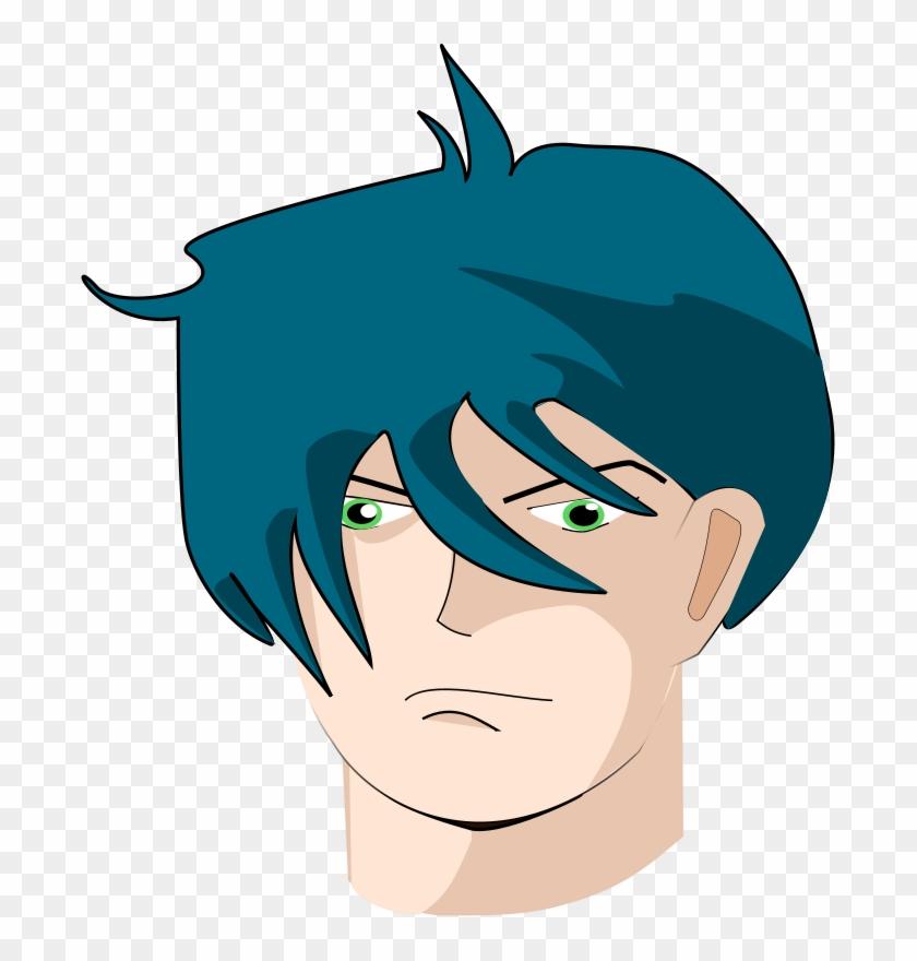 Free Vector Blue Hair Man Clip Art - Guy With Long Hair Cartoon #55100