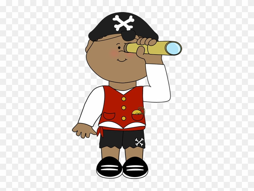 Pirate Looking Out Of Telescope - Pirate Looking Through Telescope #55675