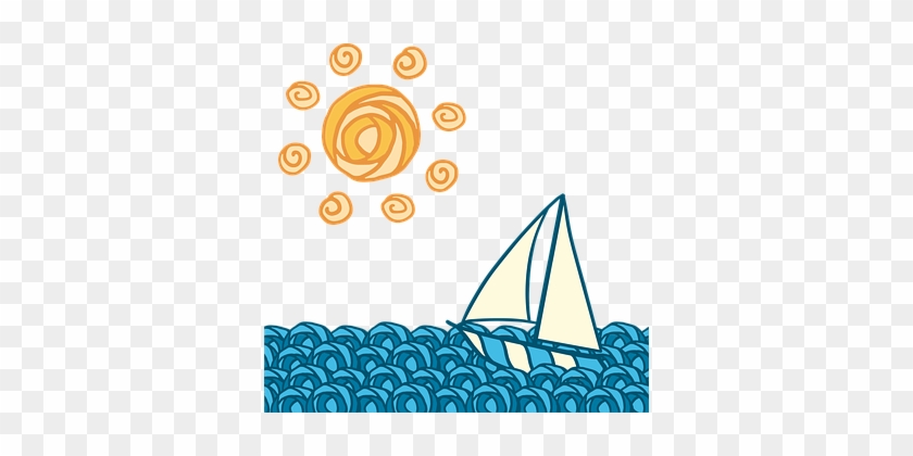 Sun Boat Wave Journey Blue Yellow Sailing - Boat On Wave Png #55832