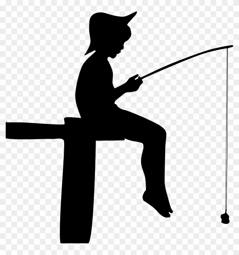 Boy Fishing Clipart - Boy Fishing Silhouette #56080