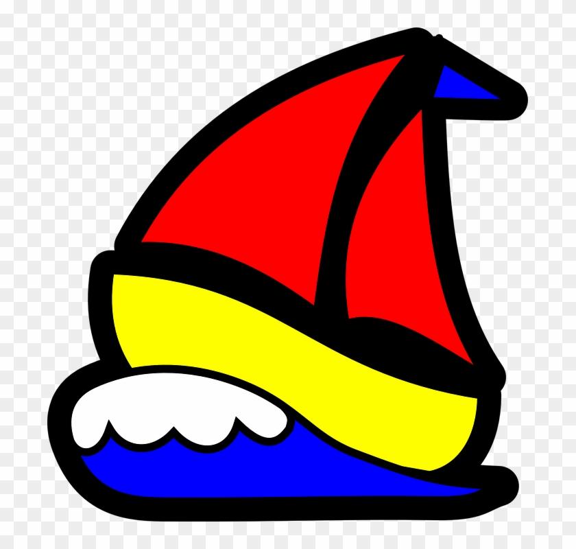 Sailboat Waves Sails Red Sea Water Ocean Boat - Sail Boat Clip Art #56152
