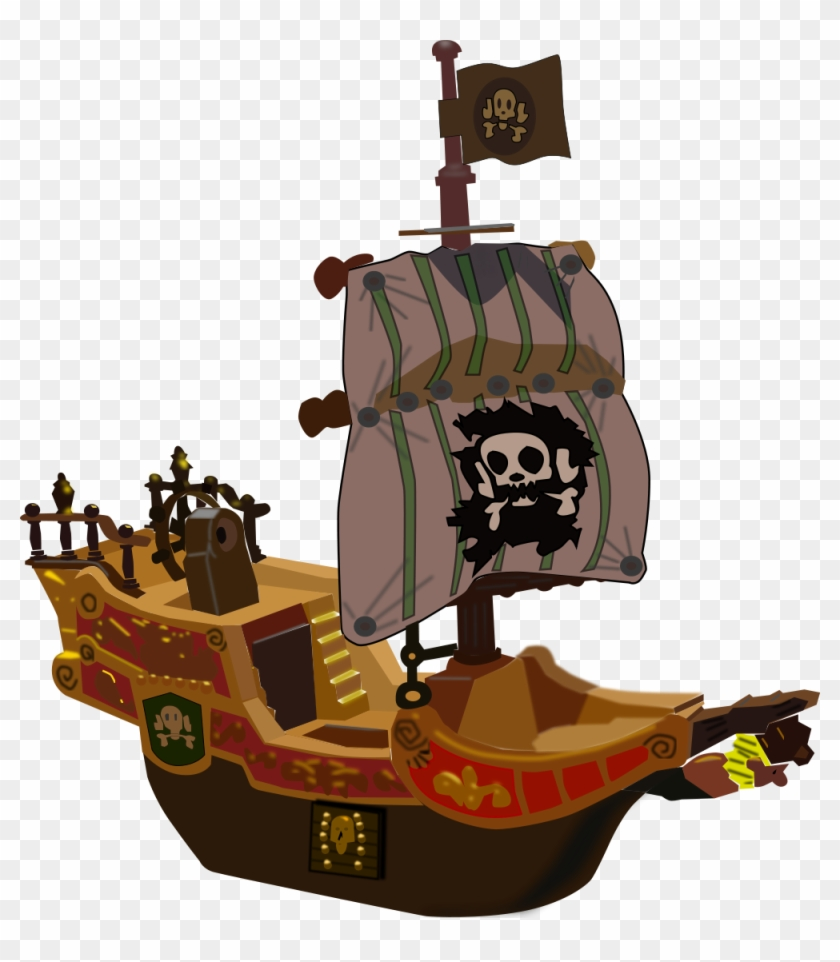 Pirate Ship Clipart, Vector Clip Art Online, Royalty - Cartoon Pirate Ship #56390