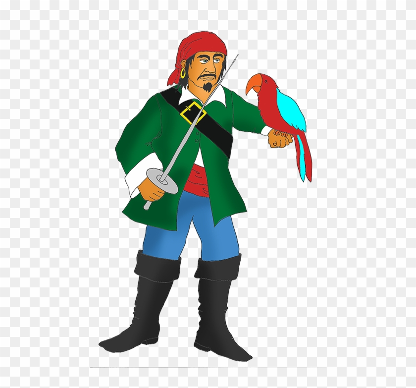 Angry Pirate With Red Parrot - Pirate With A Parrot #56903