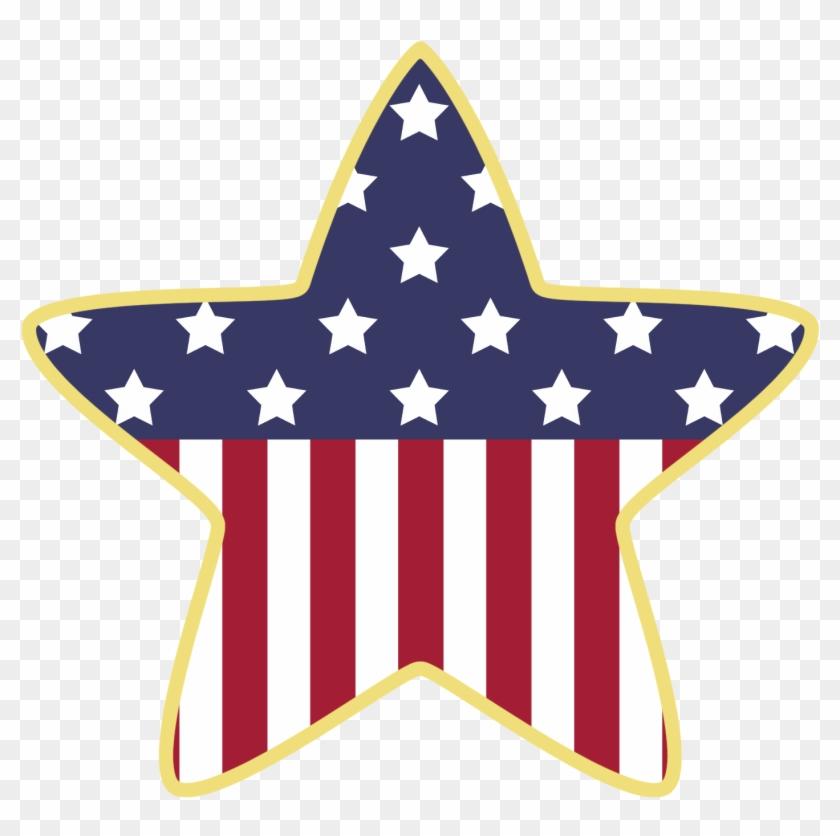 July Fireworks Clip Art Stars - American Flag Clip Art Star #57854