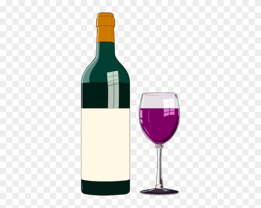 Wine Glass Wine Bottle And Glass Vector Clip Art - Wine Bottle Clip Art #57939