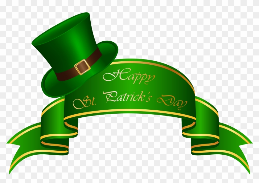 St Patricks Day Banner And Hat Transparent Clip Art - St Patrick's Day Banner #58058