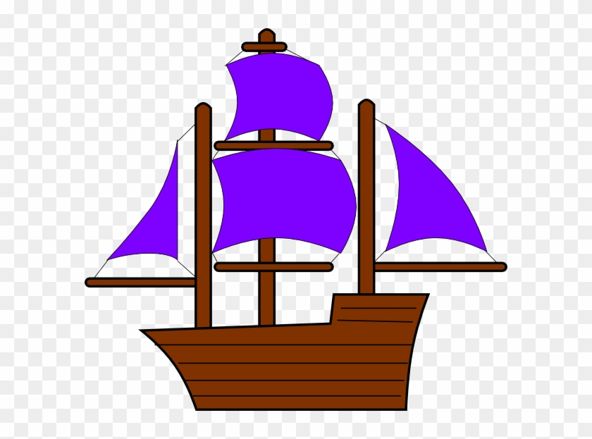 Purple Pirate Ship Clip Art At Clker - Orange Pirate Ship Clip Art #58297
