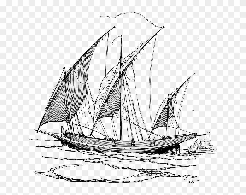 Maritime, Sailing, Ship, Sailing Boat, Ships - Sail Boat Drawing Png #58427